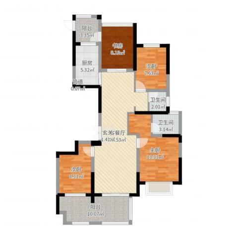 龙湾府4室2厅2卫1厨111.00㎡户型图