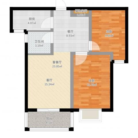 玉泉华庭2室2厅1卫1厨74.00㎡户型图