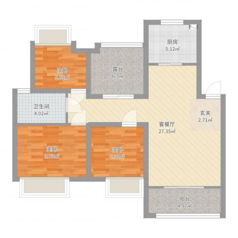 农房・名宿华府3室2厅1卫1厨89.00㎡户型图