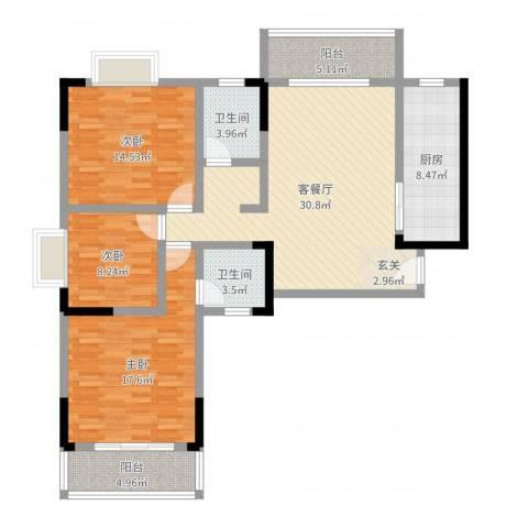 岳银欣苑3室2厅2卫1厨121.00㎡户型图