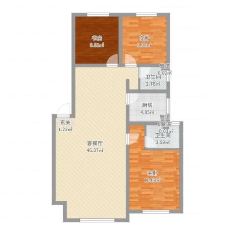 佰仕・印象3室2厅2卫1厨117.00㎡户型图