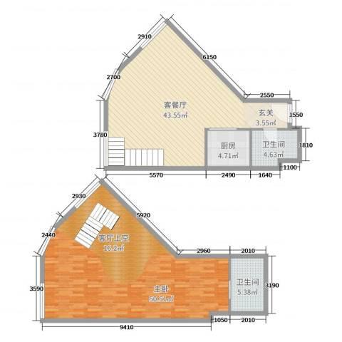 TOUCH悦城1室2厅2卫1厨136.00㎡户型图