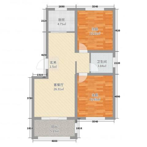 泰和名都2室2厅1卫1厨82.00㎡户型图