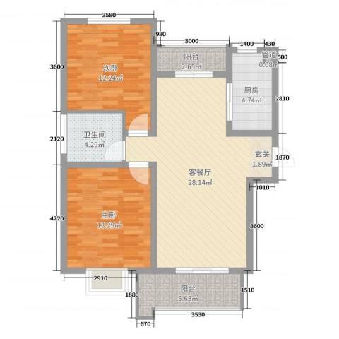 铭城国际社区2室2厅1卫1厨73.00㎡户型图