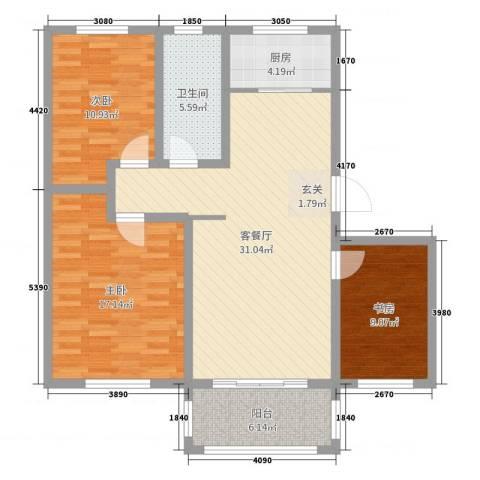 泰和名都3室2厅1卫1厨105.00㎡户型图