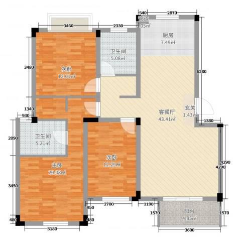 保亿风景沁园3室2厅2卫0厨130.00㎡户型图