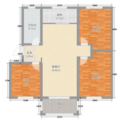 泰和名都3室2厅1卫1厨117.00㎡户型图