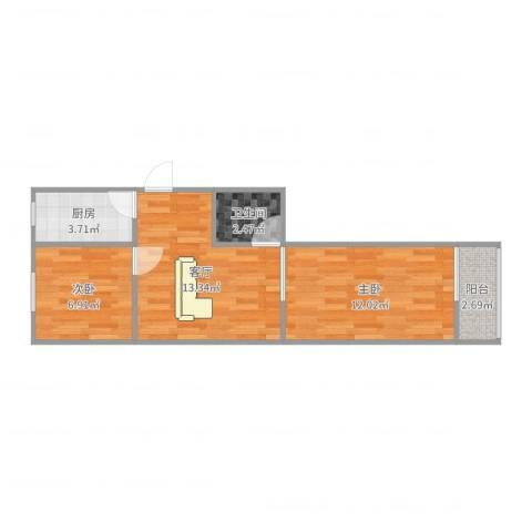 四平园2室1厅1卫1厨41.14㎡户型图