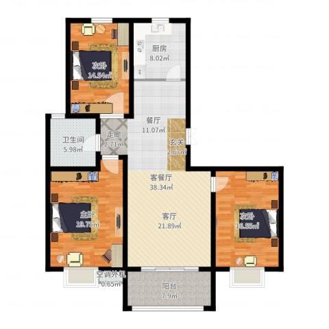 丽湾国际3室2厅1卫1厨140.00㎡户型图