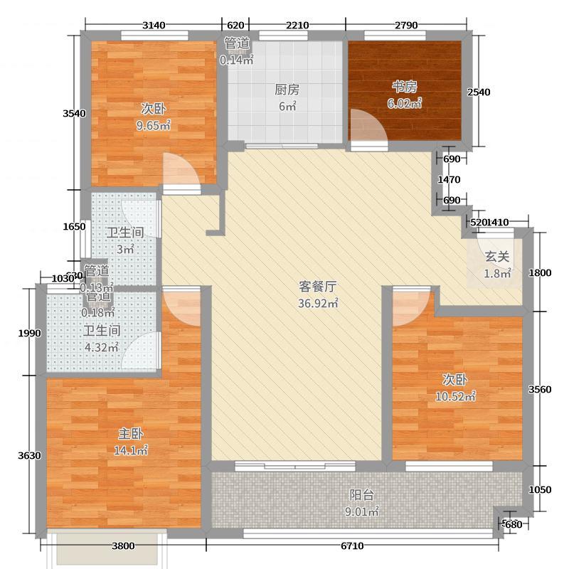中海・凤凰熙岸125.00㎡二期125b户型4室4厅2卫1厨