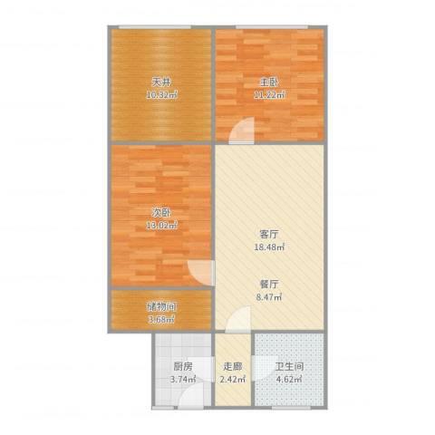 政通路100弄小区2室1厅1卫1厨84.00㎡户型图