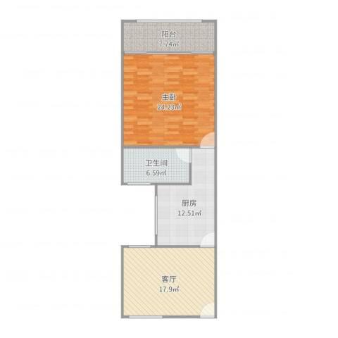 政熙路68弄小区1室1厅1卫1厨86.00㎡户型图