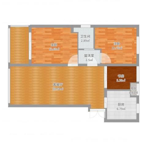 风格尚品3室4厅1卫1厨100.00㎡户型图