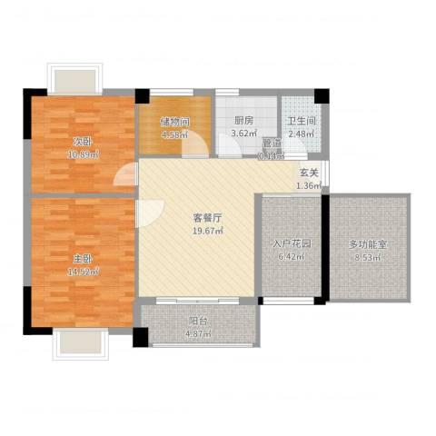 锦隆花园二期2室2厅1卫1厨95.00㎡户型图