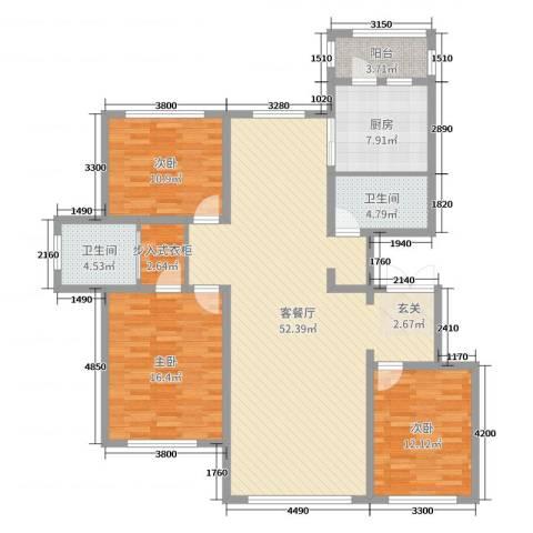 金安向日葵3室2厅2卫1厨154.00㎡户型图