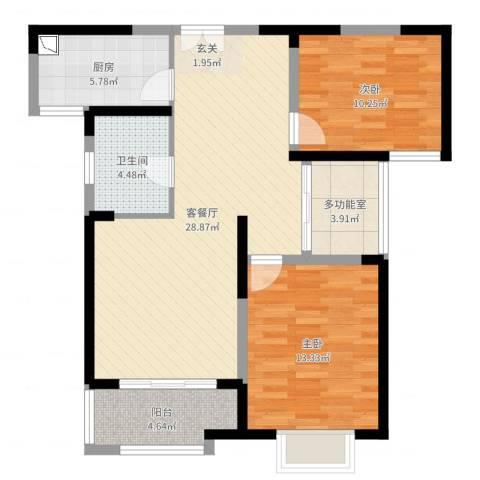 利港银河广场2室2厅1卫1厨89.00㎡户型图