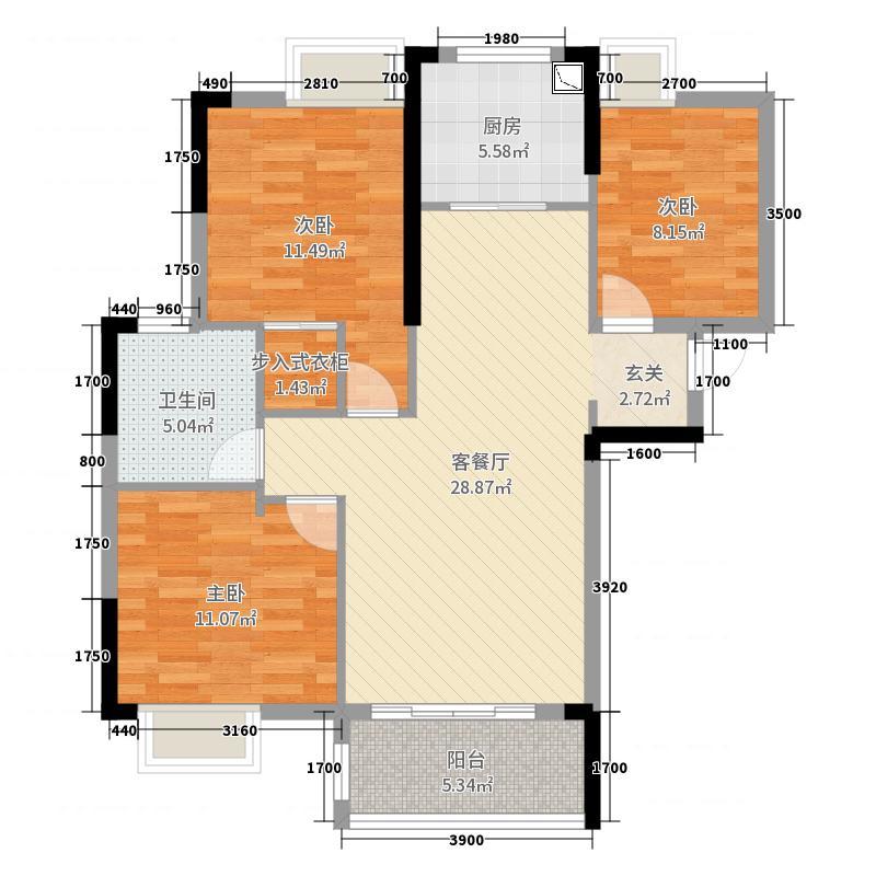 新天地公馆108.00㎡D户型3室3厅1卫1厨