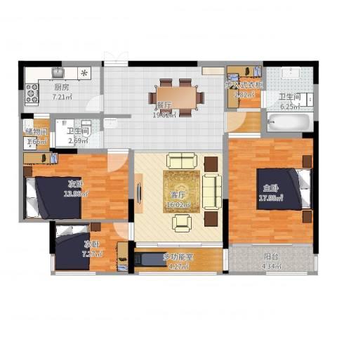 万科玲珑湾 玲珑湾3室2厅2卫1厨132.00㎡户型图