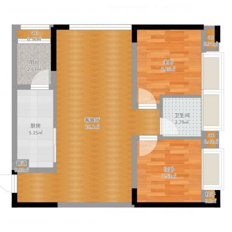 曦圆青岗湾2室2厅1卫1厨70.00㎡户型图