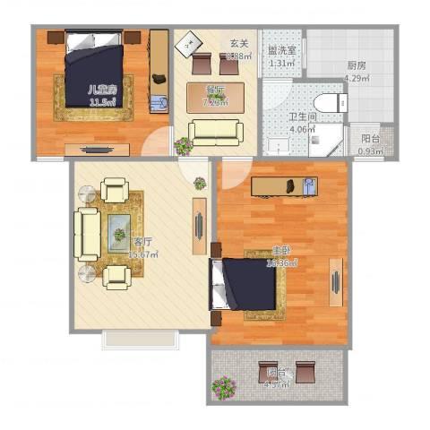 珠江香樟南园2室4厅1卫1厨82.00㎡户型图