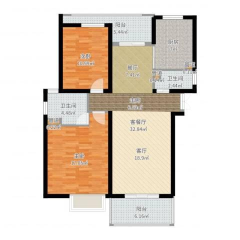 紫荆苑2室2厅2卫1厨109.00㎡户型图