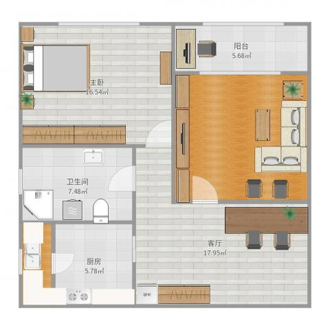 梅陇五村1室1厅1卫1厨89.00㎡户型图