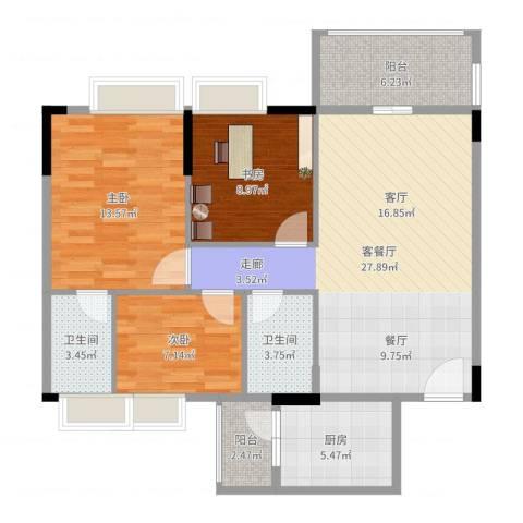 保利西子湾3室2厅2卫1厨99.00㎡户型图
