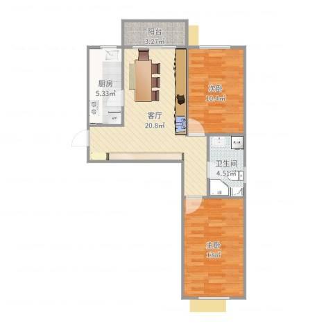 怡和世家2017.02.082室1厅1卫1厨57.31㎡户型图