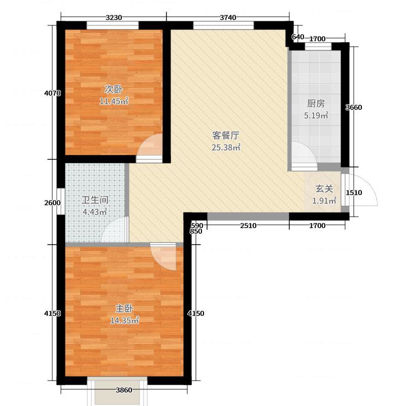 天昱・凤凰城三期76.00㎡C1户型2室2厅1卫1厨
