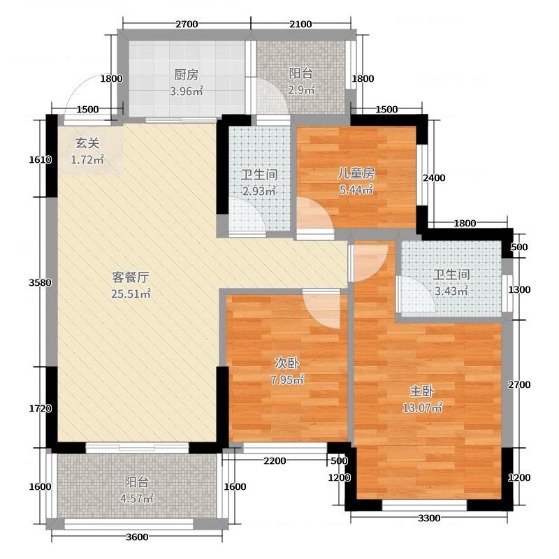 香颂诺丁山87.10㎡G'户型3室3厅2卫1厨
