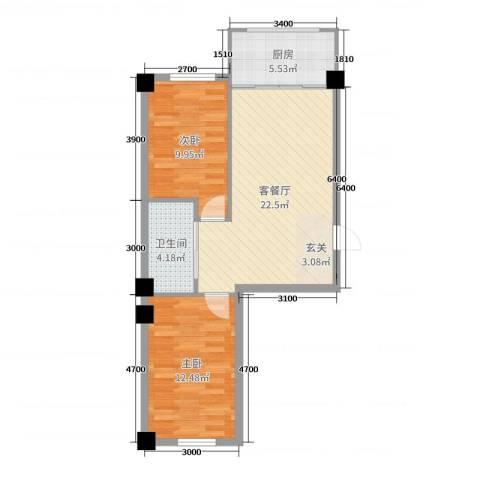 绿云嘉园2室2厅1卫1厨70.00㎡户型图