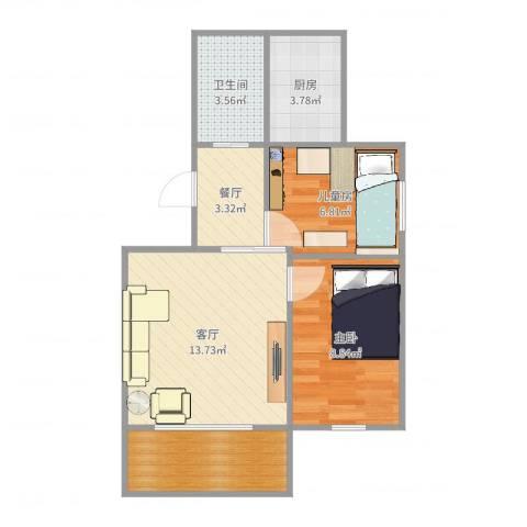 鹏海西区2室2厅1卫1厨56.00㎡户型图