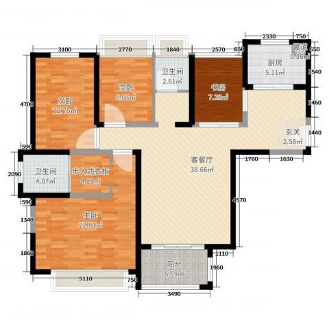 首创悦府4室2厅2卫1厨134.00㎡户型图