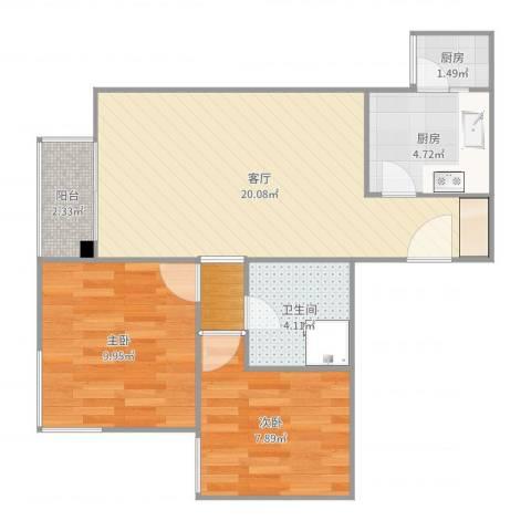 丽泽雅园2室1厅1卫2厨65.00㎡户型图