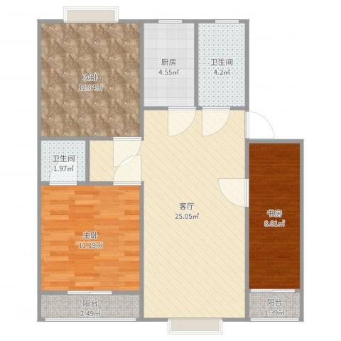 金都福邸3室1厅2卫1厨89.00㎡户型图