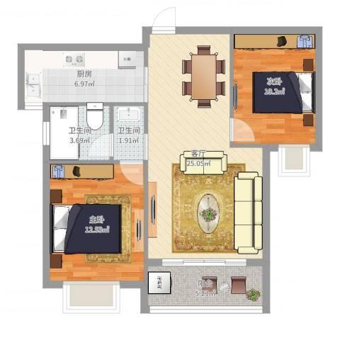 盛世天城二期2室1厅2卫1厨82.00㎡户型图