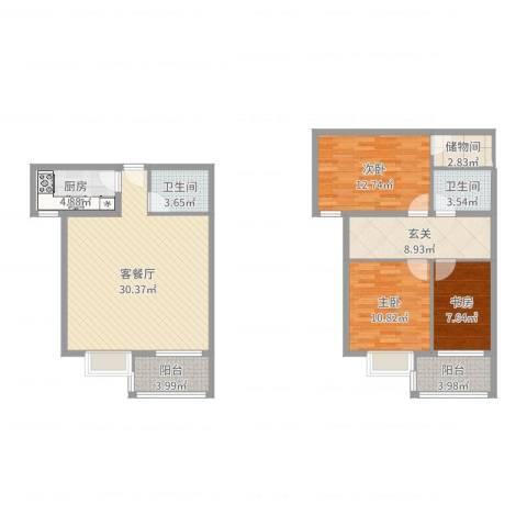 东方罗马花园3室2厅2卫1厨117.00㎡户型图