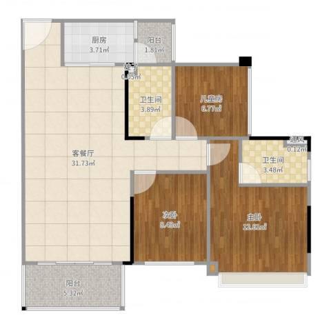 碧桂园天麓山3室2厅2卫1厨97.00㎡户型图