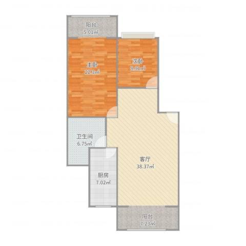 安达家园桃源富邦2室1厅1卫1厨104.00㎡户型图