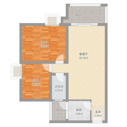 翠茵庭2室2厅1卫1厨95.00㎡户型图