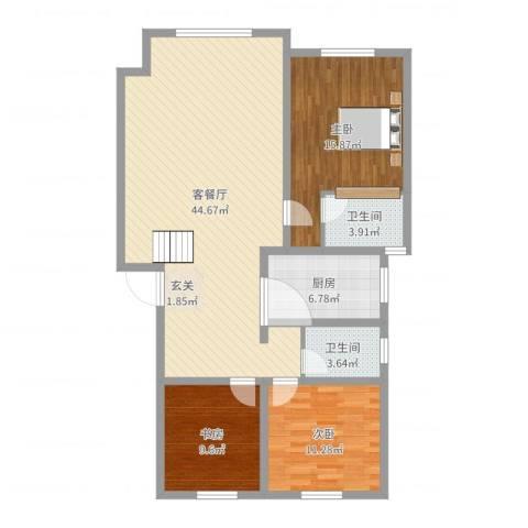 佰仕・印象3室2厅2卫1厨120.00㎡户型图