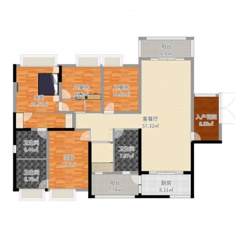 龙泉华苑4室2厅3卫1厨217.00㎡户型图