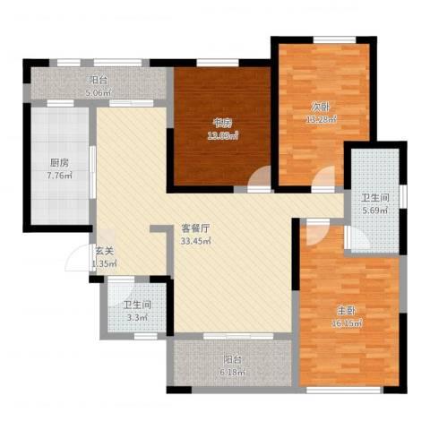 曲江千林郡3室2厅2卫1厨130.00㎡户型图