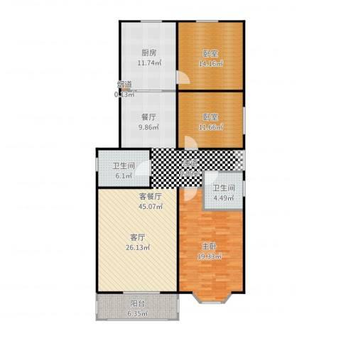 碧波园温泉家园1室2厅2卫1厨149.00㎡户型图