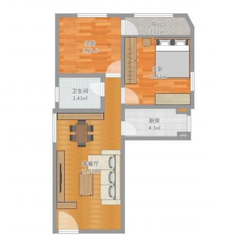 利海假日轩2室2厅1卫1厨66.00㎡户型图