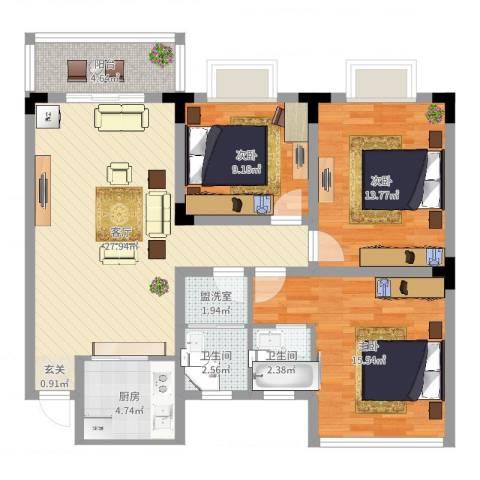 葛洪花园3室3厅2卫1厨103.00㎡户型图