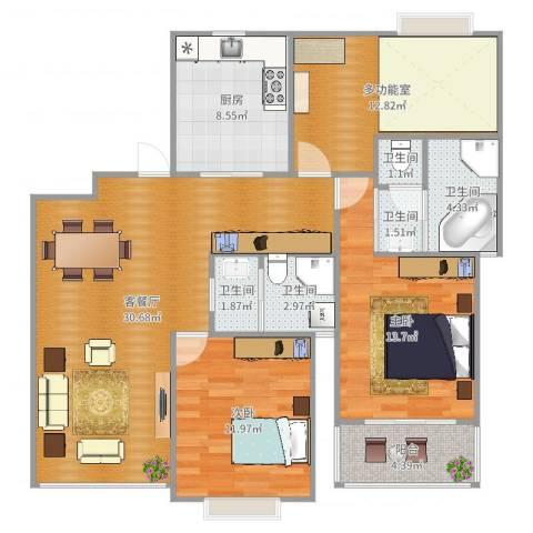 江桥佳苑2室2厅5卫1厨117.00㎡户型图