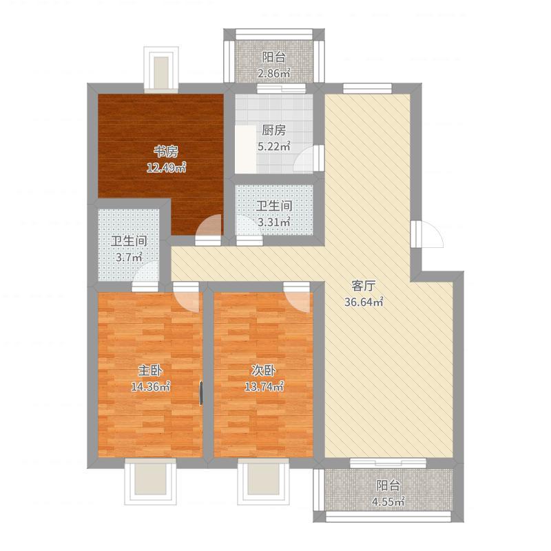 滨海人家129㎡三室