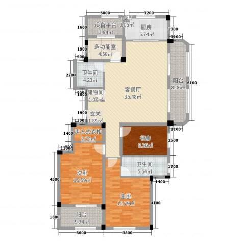 绿城桃源小镇3室2厅2卫1厨140.00㎡户型图