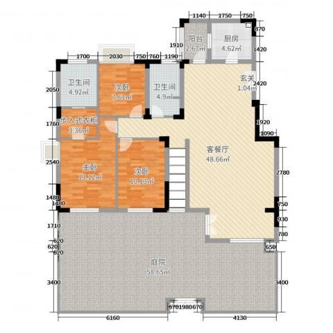 九龙仓时代上城3室2厅2卫1厨158.65㎡户型图